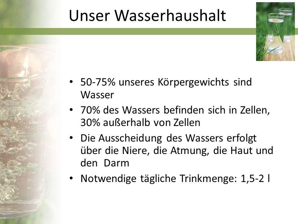 Wasser wird gesammelt von: Quellen Grundwasser Stauseen Wasser wird aufbereitet: Durch Desinfektion, z.B.