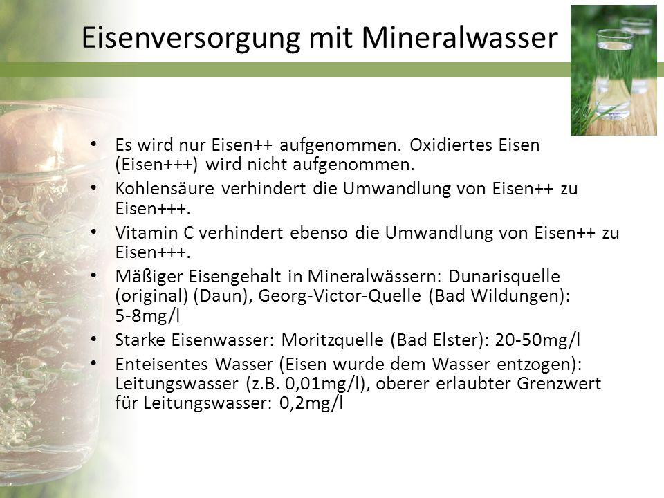 Eisengehalt von Heilmitteln Eisenquelle Verpackungsgröße einer Dosis Eisengehalt pro Dosis Eisengehalt bezogen auf 100 ml Multiplikations- faktor im Vergleich zu Leitungswasser Ferrlecit2 ml (Tablettengröße)95,2 mg4760 mg4 000 000 Kräuterblutsaft45 ml (3x15 ml)36,75 mg81,7 mg80 000 Georg-Viktor- Quelle 750 ml (Flasche)5,2 mg0,69 mg700 Dunarisquelle750 ml (Flasche)4,4 mg0,59 mg600 Leitungswasser1,5 l0,015 mg0,001 mg1
