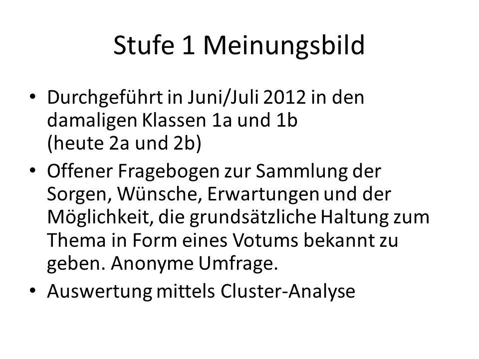 Stufe 1 Meinungsbild Durchgeführt in Juni/Juli 2012 in den damaligen Klassen 1a und 1b (heute 2a und 2b) Offener Fragebogen zur Sammlung der Sorgen, W