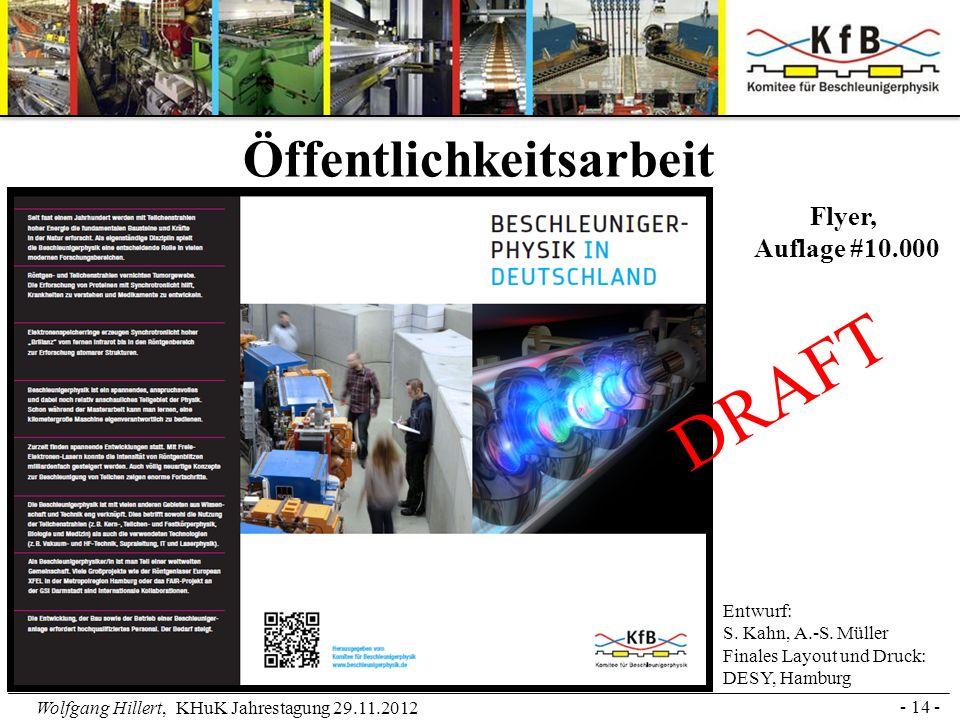 Wolfgang Hillert, KHuK Jahrestagung 29.11.2012 - 14 - Öffentlichkeitsarbeit Entwurf: S. Kahn, A.-S. Müller Finales Layout und Druck: DESY, Hamburg DRA