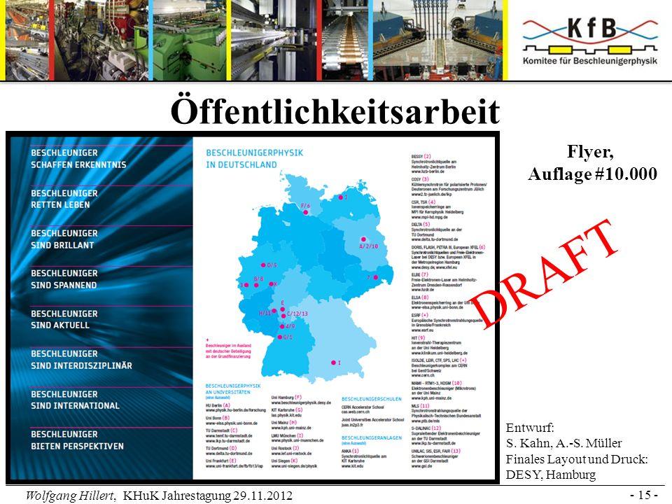 Wolfgang Hillert, KHuK Jahrestagung 29.11.2012 - 15 - Öffentlichkeitsarbeit DRAFT Entwurf: S. Kahn, A.-S. Müller Finales Layout und Druck: DESY, Hambu