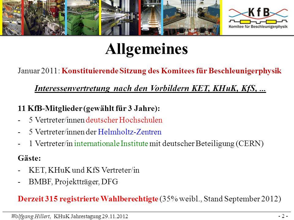Wolfgang Hillert, KHuK Jahrestagung 29.11.2012 Januar 2011: Konstituierende Sitzung des Komitees für Beschleunigerphysik Interessenvertretung nach den
