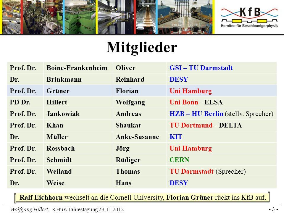 Wolfgang Hillert, KHuK Jahrestagung 29.11.2012 Aus der Satzung: Das KfB vertritt die Gemeinschaft der deutschen Beschleunigerphysiker/innen nach außen und fördert den Kontakt innerhalb der Gemeinschaft.