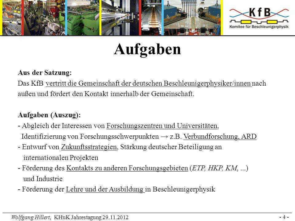 Wolfgang Hillert, KHuK Jahrestagung 29.11.2012 Aus der Satzung: Das KfB vertritt die Gemeinschaft der deutschen Beschleunigerphysiker/innen nach außen