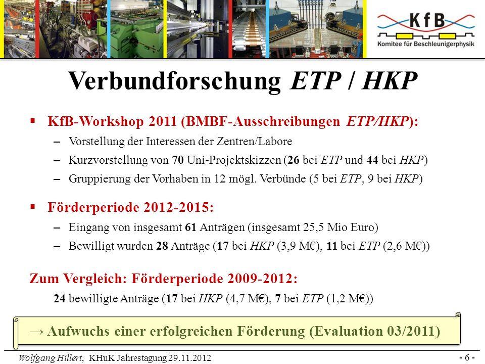 Wolfgang Hillert, KHuK Jahrestagung 29.11.2012 - 6 - Verbundforschung ETP / HKP KfB-Workshop 2011 (BMBF-Ausschreibungen ETP/HKP): – Vorstellung der In
