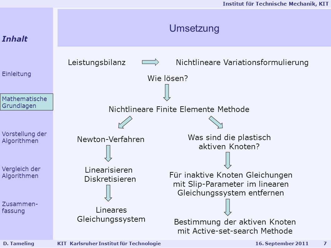 Institut für Technische Mechanik, KIT D.Tameling KIT Karlsruher Institut für Technologie 16.