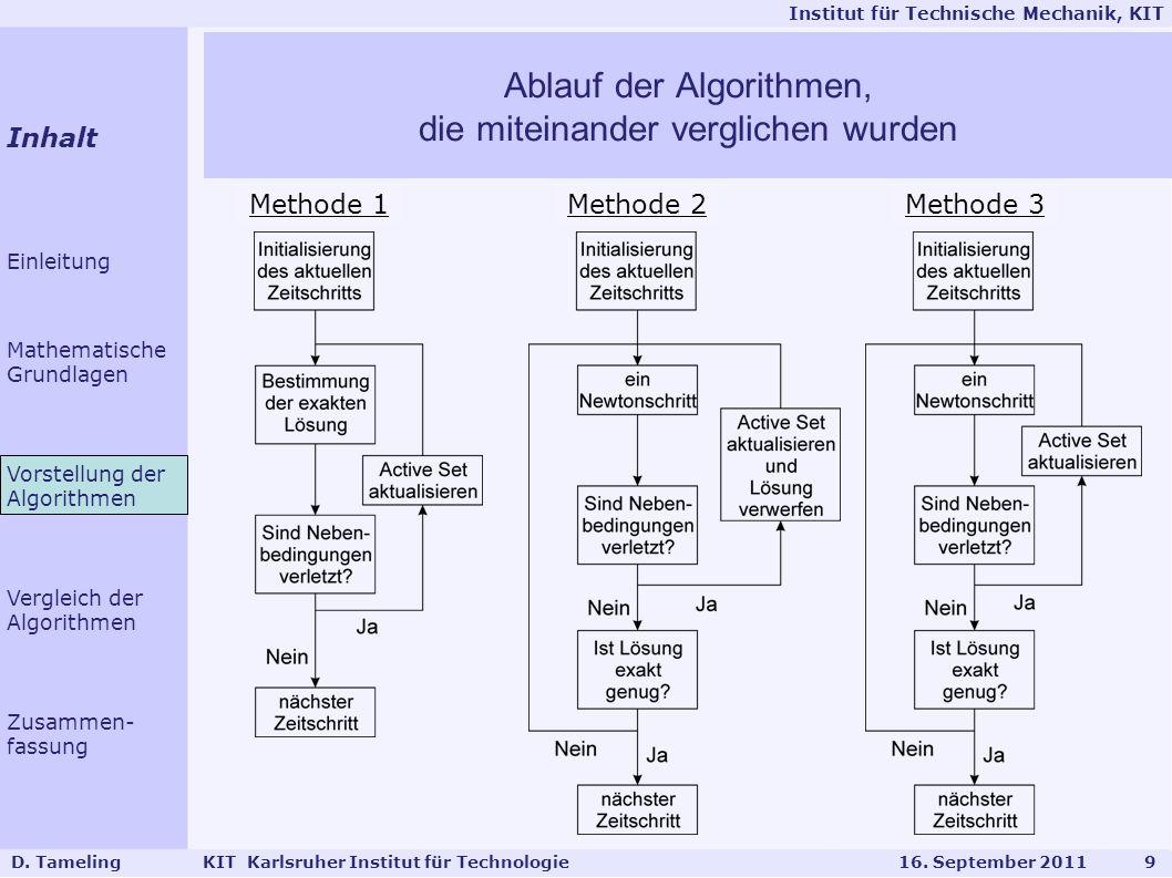 Institut für Technische Mechanik, KIT Netze Hexaeder Elemente 11x11x6 =726 Knoten 26x26x14 =9464 Knoten 10 D.