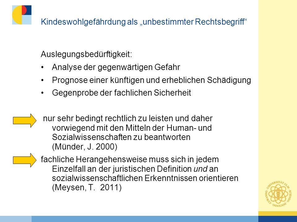 Kinderschutz in Deutschland -in den letzten Jahren vermehrte Aufmerksamkeit auf das Thema Vernachlässigung und Misshandlung von Kindern -Ziel zahlreicher Initiativen auf kommunaler, Landes- und Bundesebene ist die Verbesserung des Kinderschutzsystems in Deutschland -2005 Novellierung des SGB VIII mit der Einführung des §8a: Konkretisierung des Schutzauftrages in der Kinder- und Jugendhilfe -Auf- und Ausbau präventiver Ansätze, den sogenannten Frühen Hilfen (multiprofessioneller Ansatz zur Prävention von Kindeswohlgefährdung) -Runder Tisch sexueller Kindesmissbrauch -01.01.2012 Bundeskinderschutzgesetz