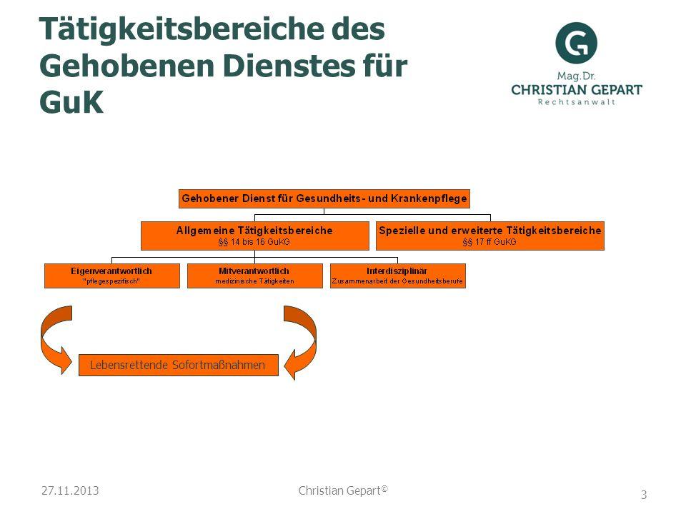 27.11.2013 Tätigkeitsbereiche des Gehobenen Dienstes für GuK Lebensrettende Sofortmaßnahmen Christian Gepart © 3