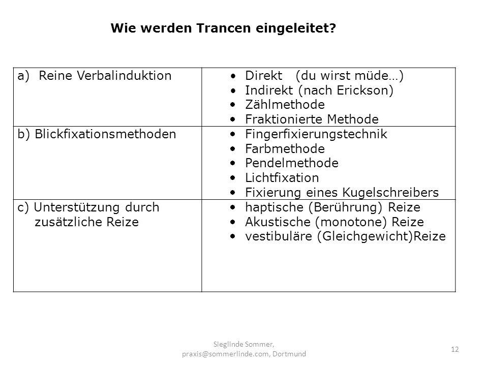 Sieglinde Sommer, praxis@sommerlinde.com, Dortmund 12 a) Reine Verbalinduktion Direkt (du wirst müde…) Indirekt (nach Erickson) Zählmethode Fraktionie
