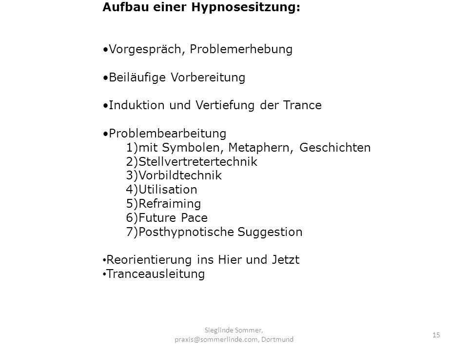 Sieglinde Sommer, praxis@sommerlinde.com, Dortmund 15 Aufbau einer Hypnosesitzung: Vorgespräch, Problemerhebung Beiläufige Vorbereitung Induktion und