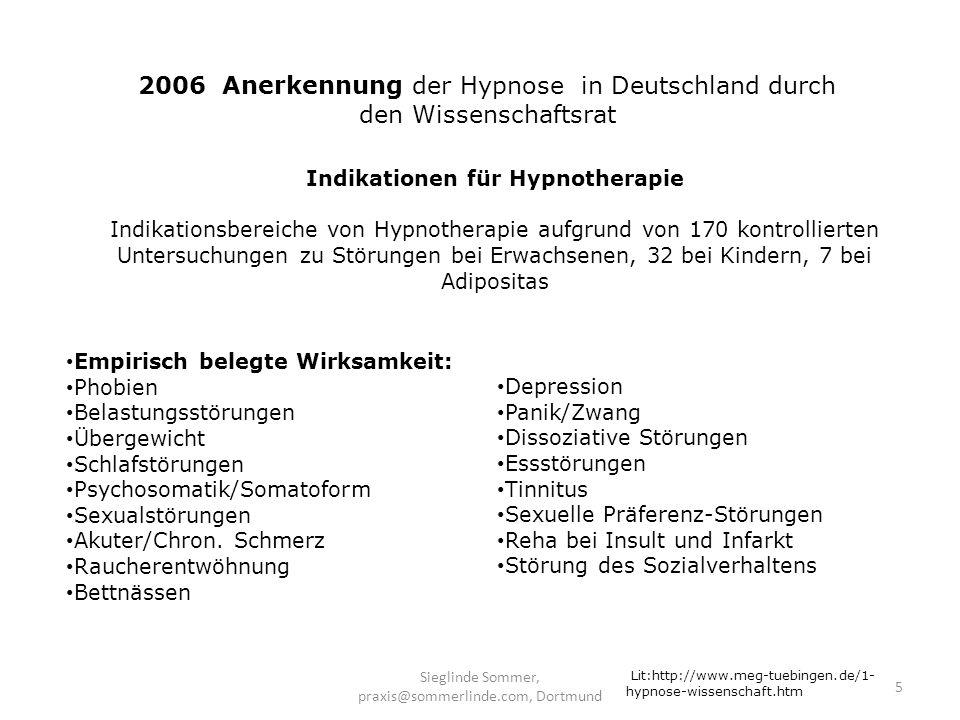 Sieglinde Sommer, praxis@sommerlinde.com, Dortmund 16 Bedingungen zur Durchführung einer therapeutischen Hypnosesitzung Ruhige Räume; Vermeidung von Störungen (Telefon, Handy, Klingel) Angenehme, schutzbietende Licht- und Raumgestaltung Entspannende Liege- oder Sitzmöglichkeiten Stimm- und Sprachführung des Hypnotiseurs (ruhig, wohltuend, kurze Sätze) Ruhige Musik, die die Pulsfrequenz des Menschen aufnimmt Lit: A.