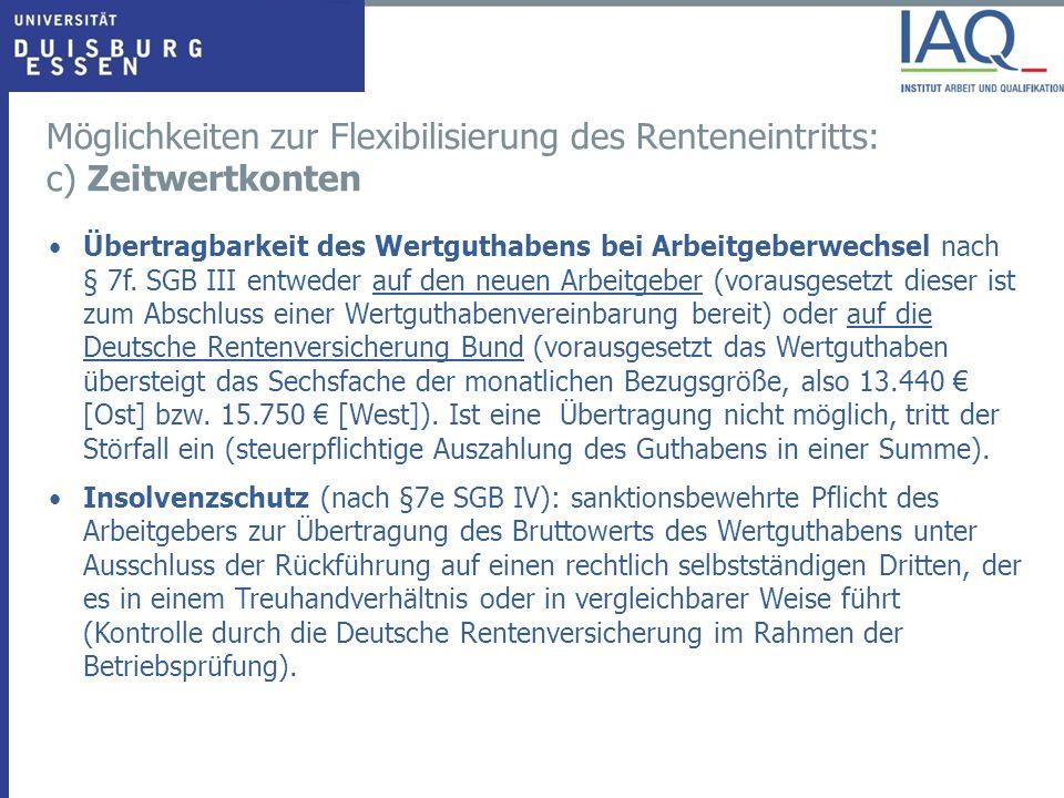 Übertragbarkeit des Wertguthabens bei Arbeitgeberwechsel nach § 7f.