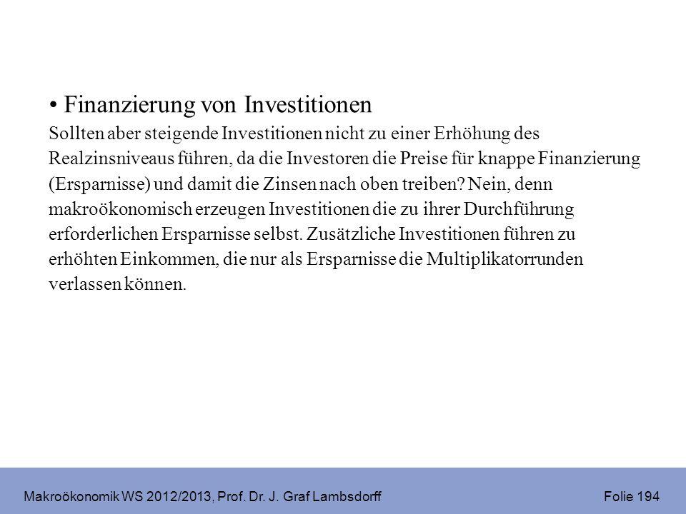Makroökonomik WS 2012/2013, Prof. Dr. J. Graf Lambsdorff Folie 194 Finanzierung von Investitionen Sollten aber steigende Investitionen nicht zu einer