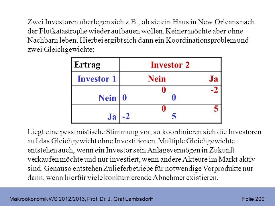 Makroökonomik WS 2012/2013, Prof. Dr. J. Graf Lambsdorff Folie 200 Zwei Investoren überlegen sich z.B., ob sie ein Haus in New Orleans nach der Flutka