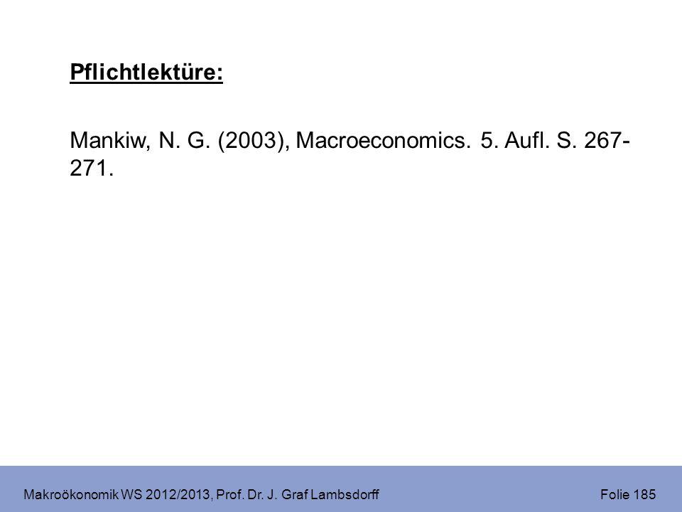 Makroökonomik WS 2012/2013, Prof. Dr. J. Graf Lambsdorff Folie 185 Pflichtlektüre: Mankiw, N. G. (2003), Macroeconomics. 5. Aufl. S. 267- 271.