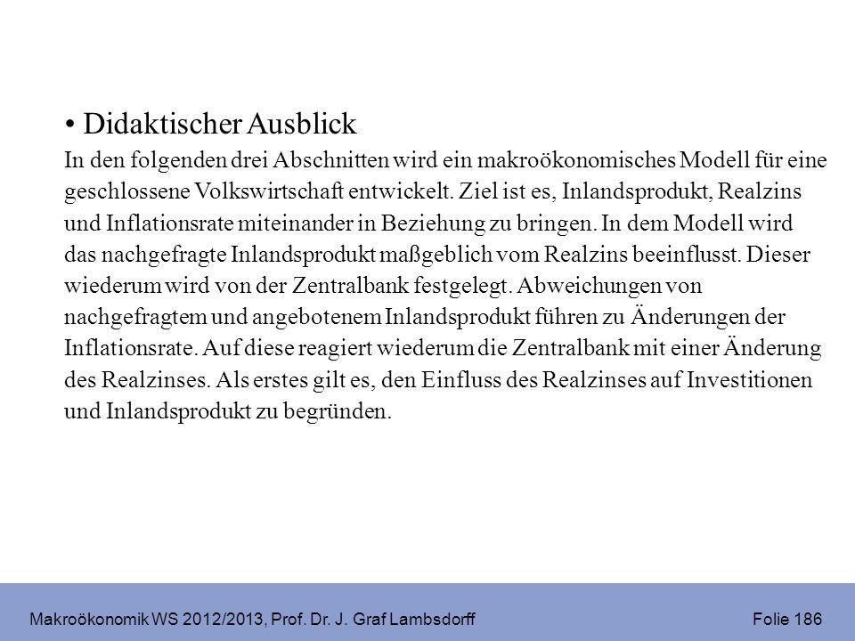Makroökonomik WS 2012/2013, Prof. Dr. J. Graf Lambsdorff Folie 186 Didaktischer Ausblick In den folgenden drei Abschnitten wird ein makroökonomisches