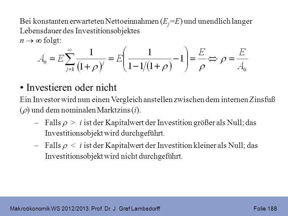 Makroökonomik WS 2012/2013, Prof. Dr. J. Graf Lambsdorff Folie 188 Bei konstanten erwarteten Nettoeinnahmen (E j =E) und unendlich langer Lebensdauer