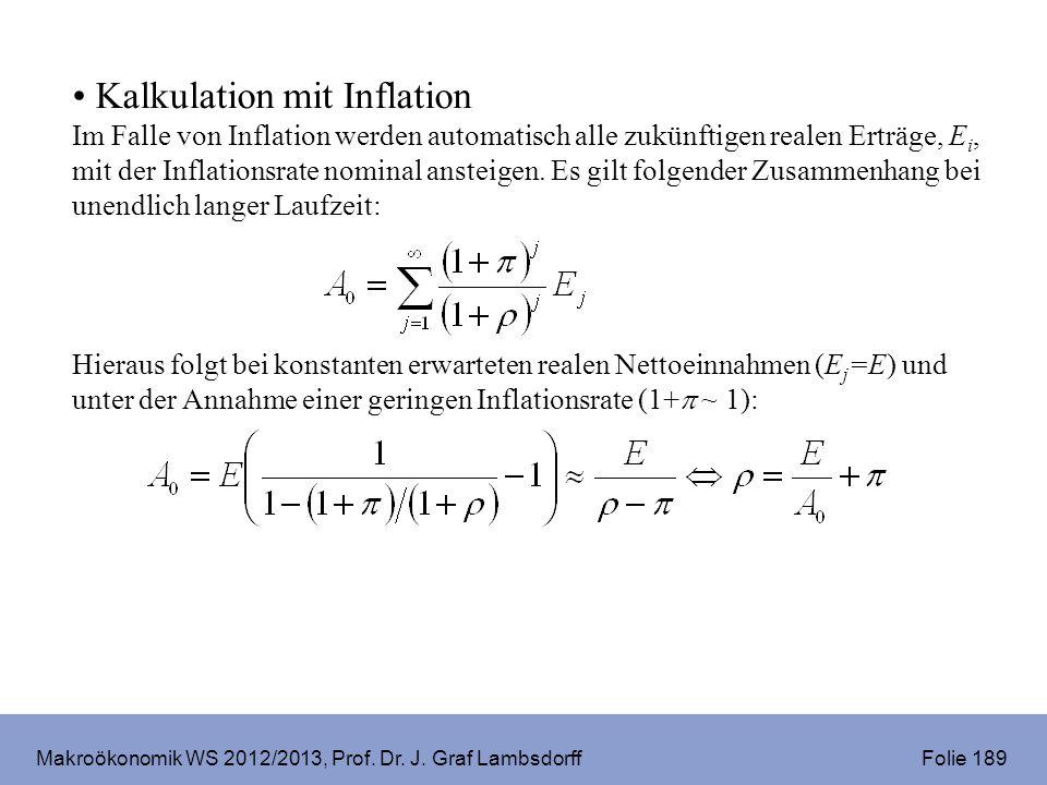 Makroökonomik WS 2012/2013, Prof. Dr. J. Graf Lambsdorff Folie 189 Kalkulation mit Inflation Im Falle von Inflation werden automatisch alle zukünftige
