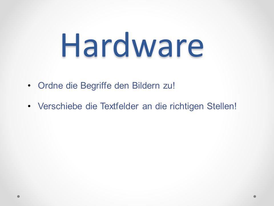Hardware Ordne die Begriffe den Bildern zu! Verschiebe die Textfelder an die richtigen Stellen!