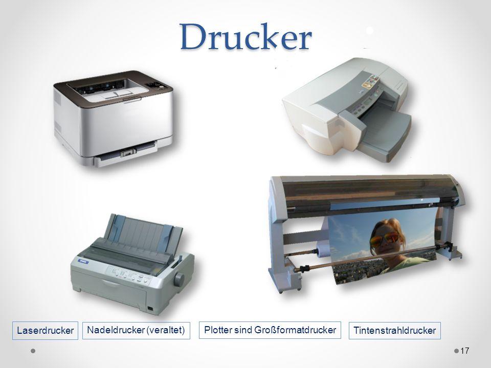 Drucker 17 Nadeldrucker (veraltet) Plotter sind Großformatdrucker Laserdrucker Tintenstrahldrucker