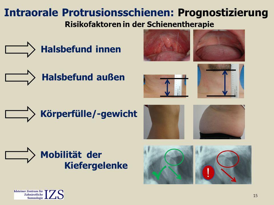 15 Intraorale Protrusionsschienen: Prognostizierung Körperfülle/-gewicht Halsbefund außen Halsbefund innen Risikofaktoren in der Schienentherapie Mobi