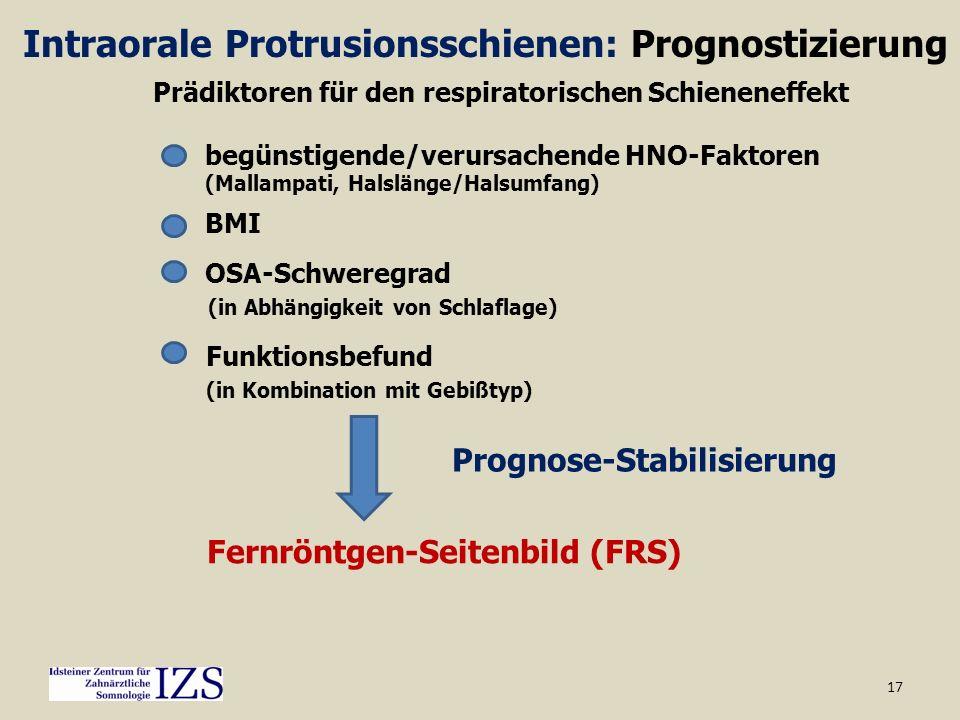 17 Intraorale Protrusionsschienen: Prognostizierung Prädiktoren für den respiratorischen Schieneneffekt begünstigende/verursachende HNO-Faktoren (Mall