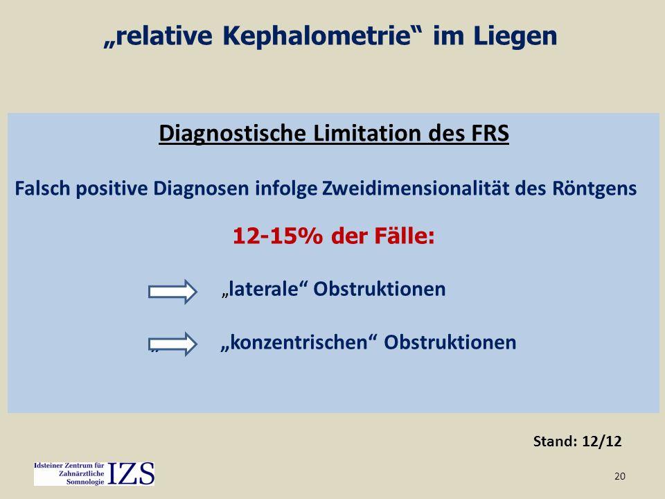 20 relative Kephalometrie im Liegen Diagnostische Limitation des FRS Falsch positive Diagnosen infolge Zweidimensionalität des Röntgens 12-15% der Fäl
