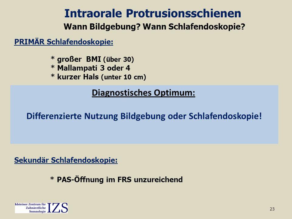 23 Intraorale Protrusionsschienen Wann Bildgebung? Wann Schlafendoskopie? Sekundär Schlafendoskopie: * PAS-Öffnung im FRS unzureichend PRIMÄR Schlafen