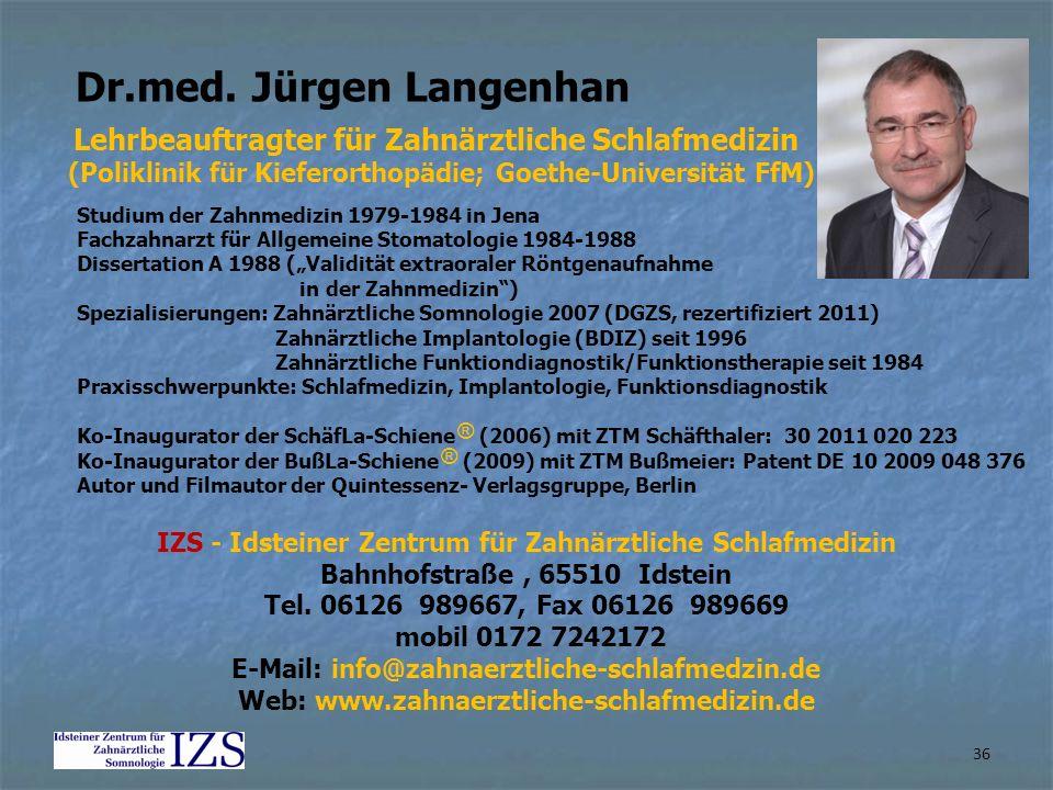 Dr.med. Jürgen Langenhan Studium der Zahnmedizin 1979-1984 in Jena Fachzahnarzt für Allgemeine Stomatologie 1984-1988 Dissertation A 1988 (Validität e