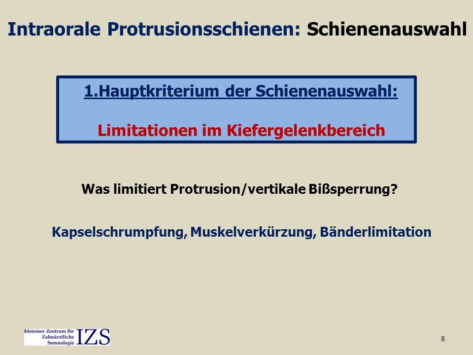 8 Intraorale Protrusionsschienen: Schienenauswahl 1.Hauptkriterium der Schienenauswahl: Limitationen im Kiefergelenkbereich Was limitiert Protrusion/v
