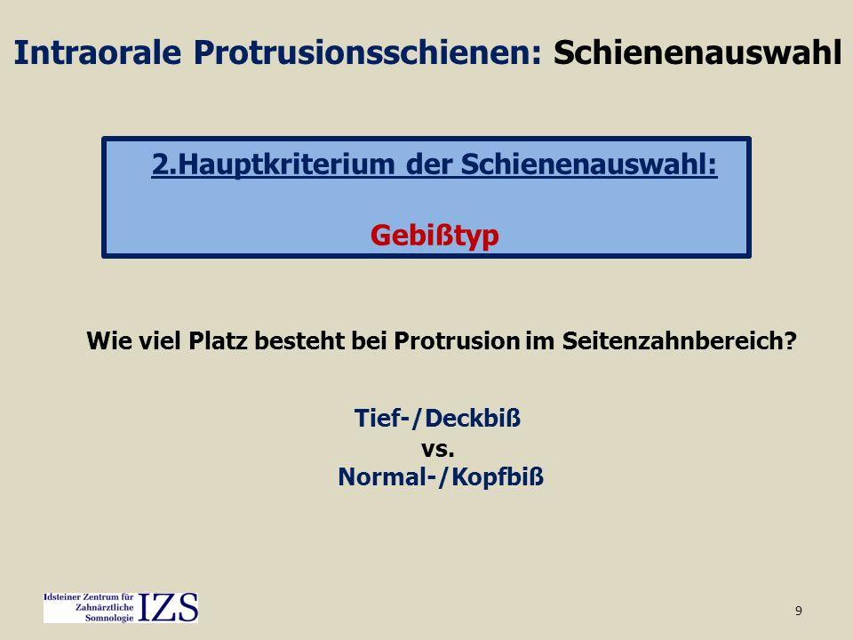 9 Intraorale Protrusionsschienen: Schienenauswahl 2.Hauptkriterium der Schienenauswahl: Gebißtyp Wie viel Platz besteht bei Protrusion im Seitenzahnbe