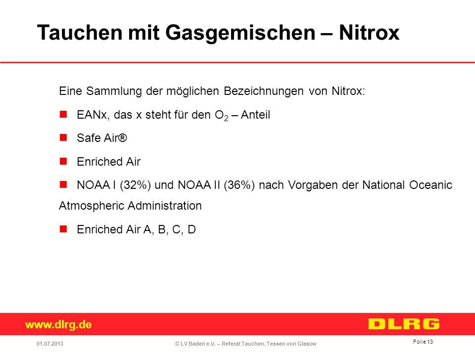 www.dlrg.de © LV Baden e.V. – Referat Tauchen, Tessen von Glasow Eine Sammlung der möglichen Bezeichnungen von Nitrox: EANx, das x steht für den O 2 –