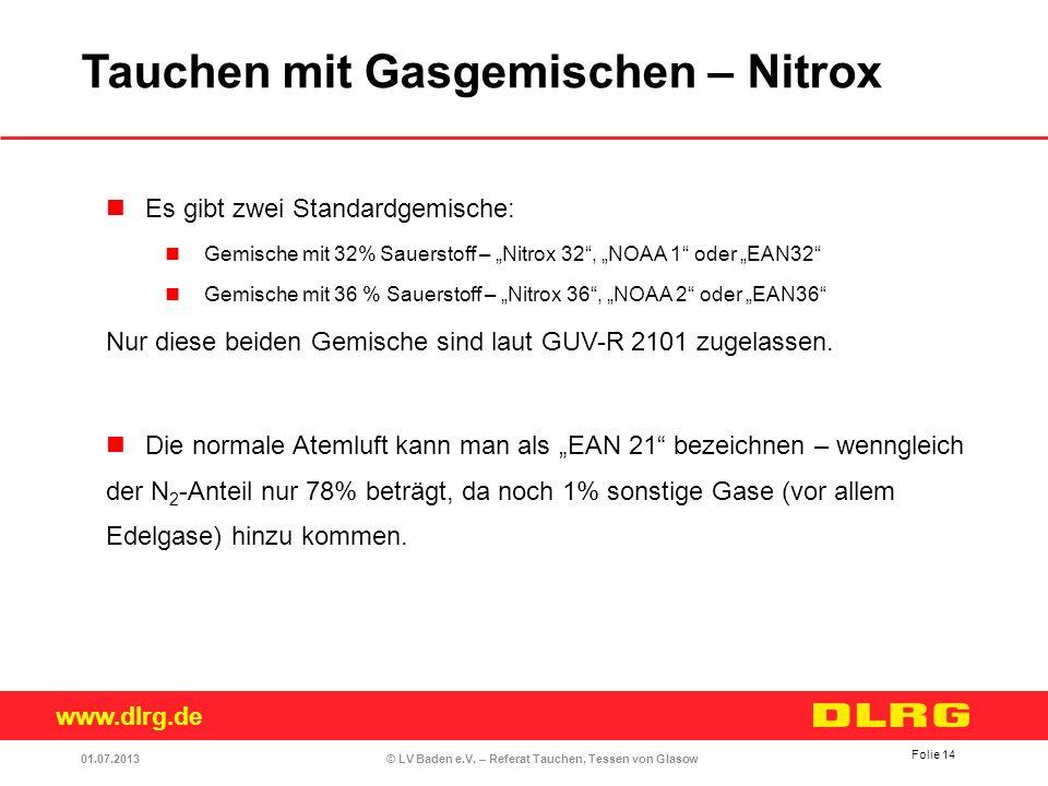 www.dlrg.de © LV Baden e.V. – Referat Tauchen, Tessen von Glasow Es gibt zwei Standardgemische: Gemische mit 32% Sauerstoff – Nitrox 32, NOAA 1 oder E