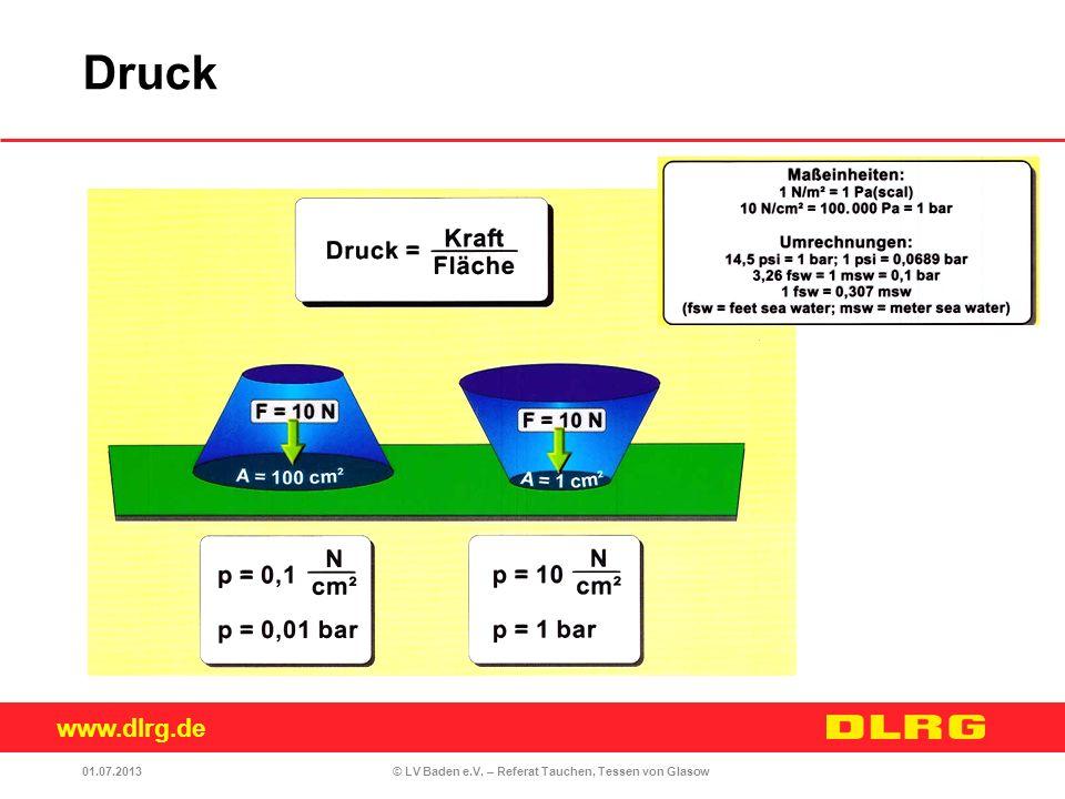 www.dlrg.de © LV Baden e.V. – Referat Tauchen, Tessen von Glasow01.07.2013 Druck