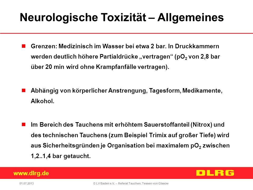www.dlrg.de © LV Baden e.V. – Referat Tauchen, Tessen von Glasow Grenzen: Medizinisch im Wasser bei etwa 2 bar. In Druckkammern werden deutlich höhere