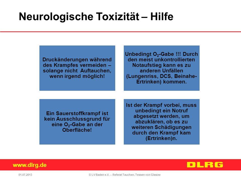 www.dlrg.de © LV Baden e.V. – Referat Tauchen, Tessen von Glasow Druckänderungen während des Krampfes vermeiden – solange nicht Auftauchen, wenn irgen