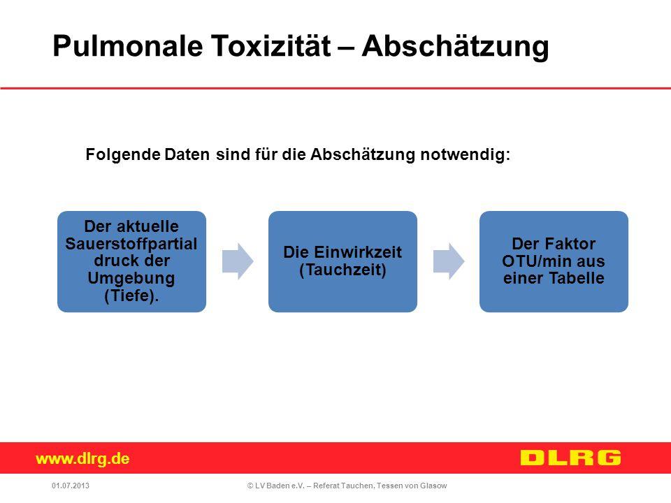 www.dlrg.de © LV Baden e.V. – Referat Tauchen, Tessen von Glasow Folgende Daten sind für die Abschätzung notwendig: Der aktuelle Sauerstoffpartial dru