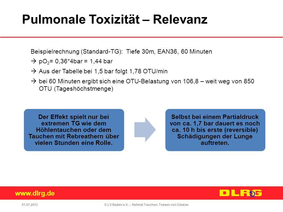 www.dlrg.de © LV Baden e.V. – Referat Tauchen, Tessen von Glasow Der Effekt spielt nur bei extremen TG wie dem Höhlentauchen oder dem Tauchen mit Rebr