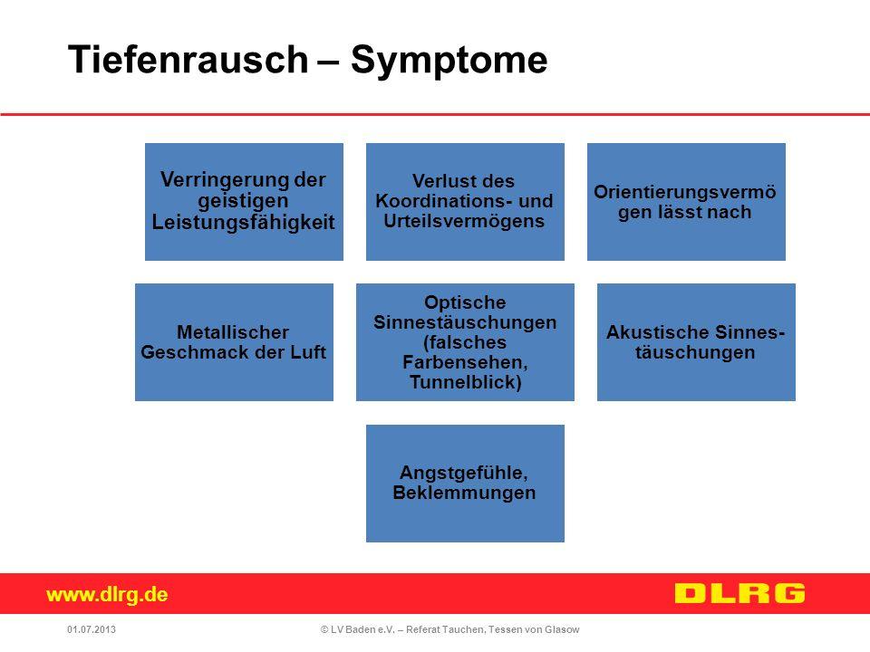 www.dlrg.de © LV Baden e.V. – Referat Tauchen, Tessen von Glasow Verringerung der geistigen Leistungsfähigkeit Verlust des Koordinations- und Urteilsv