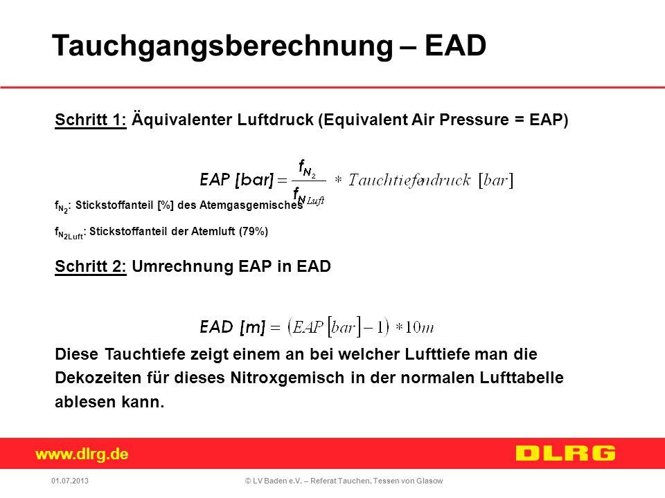 www.dlrg.de © LV Baden e.V. – Referat Tauchen, Tessen von Glasow Schritt 1: Äquivalenter Luftdruck (Equivalent Air Pressure = EAP) f N 2 : Stickstoffa