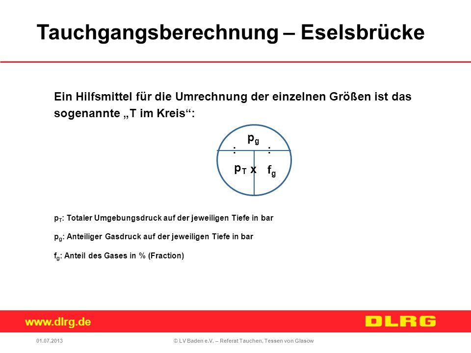 www.dlrg.de © LV Baden e.V. – Referat Tauchen, Tessen von Glasow Ein Hilfsmittel für die Umrechnung der einzelnen Größen ist das sogenannte T im Kreis