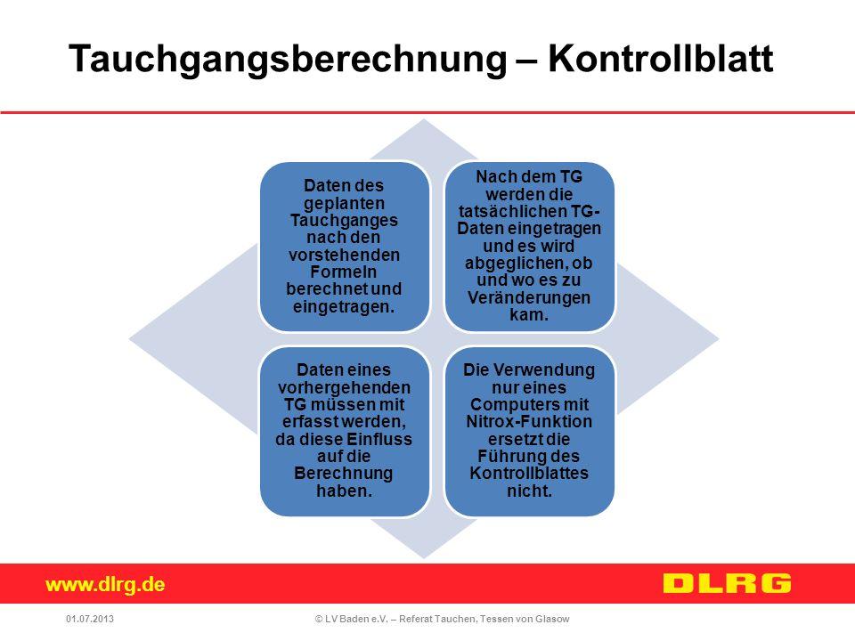 www.dlrg.de © LV Baden e.V. – Referat Tauchen, Tessen von Glasow Daten des geplanten Tauchganges nach den vorstehenden Formeln berechnet und eingetrag