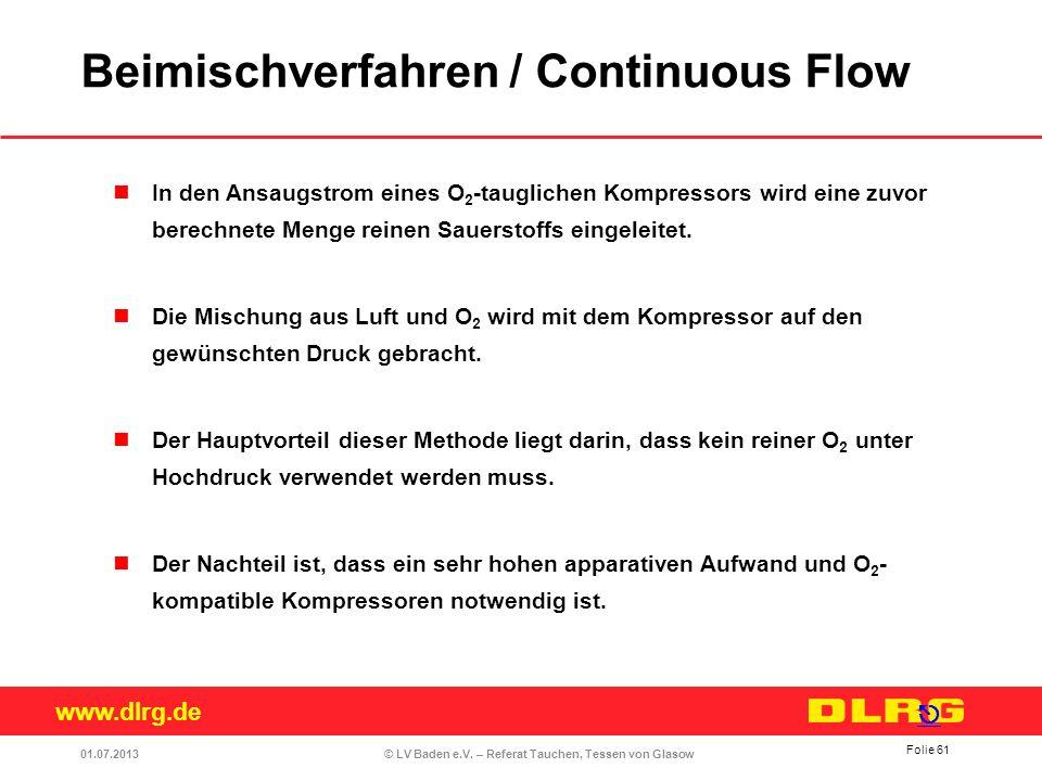 www.dlrg.de © LV Baden e.V. – Referat Tauchen, Tessen von Glasow In den Ansaugstrom eines O 2 -tauglichen Kompressors wird eine zuvor berechnete Menge