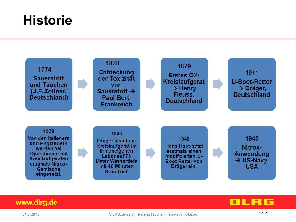 www.dlrg.de © LV Baden e.V. – Referat Tauchen, Tessen von Glasow Folie 7 1774 Sauerstoff und Tauchen (J.F. Zollner, Deutschland) 1878 Entdeckung der T