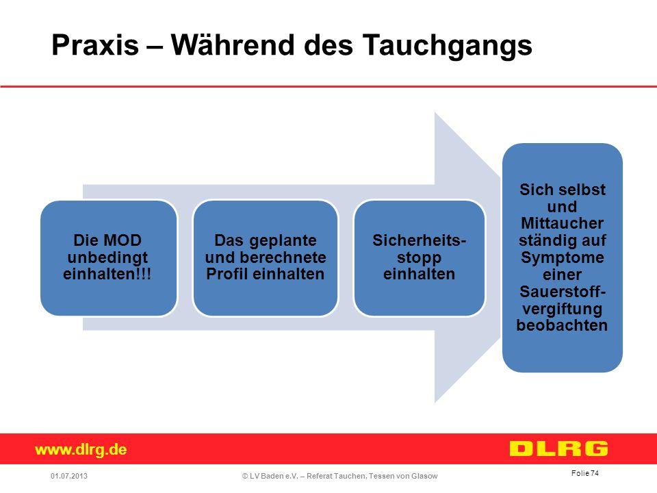 www.dlrg.de © LV Baden e.V. – Referat Tauchen, Tessen von Glasow Die MOD unbedingt einhalten!!! Das geplante und berechnete Profil einhalten Sicherhei