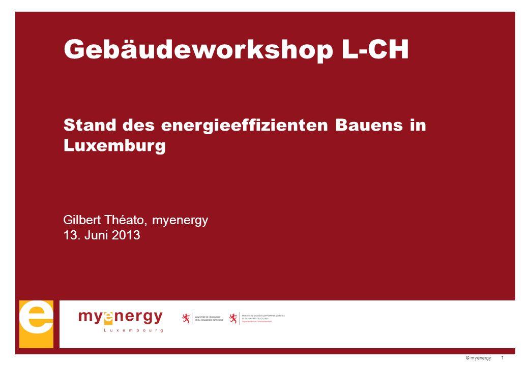 © myenergy 1 Gebäudeworkshop L-CH Stand des energieeffizienten Bauens in Luxemburg Gilbert Théato, myenergy 13.