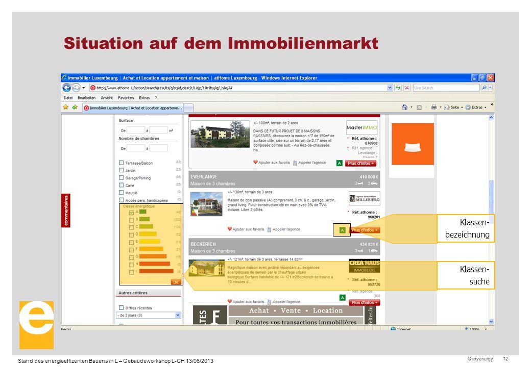 © myenergy 12 Situation auf dem Immobilienmarkt Xx Stand des energieeffizenten Bauens in L – Gebäudeworkshop L-CH 13/06/2013 Klassen- suche Klassen- bezeichnung