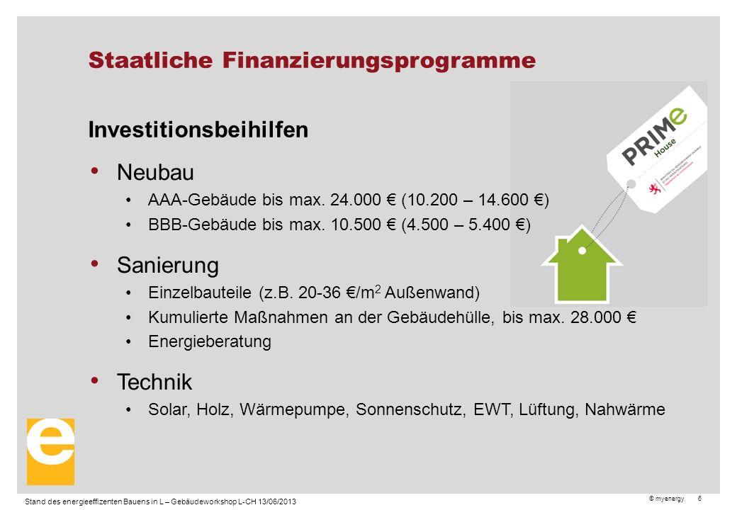 © myenergy 6 Staatliche Finanzierungsprogramme Investitionsbeihilfen Neubau AAA-Gebäude bis max.