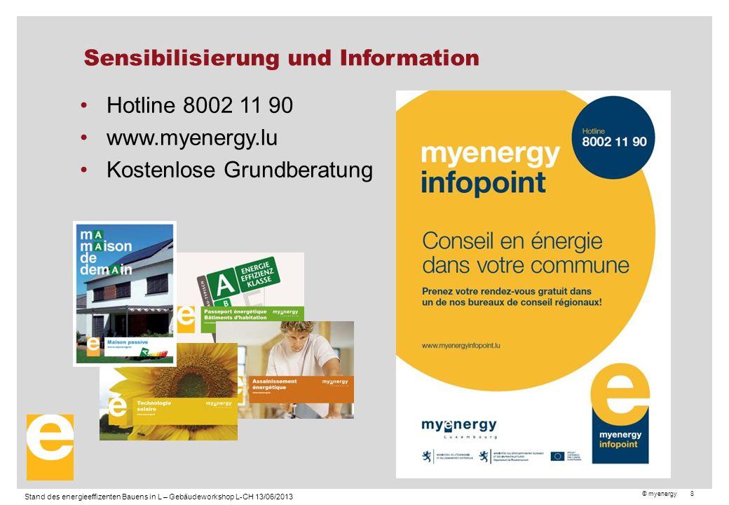 © myenergy 8 Sensibilisierung und Information Hotline 8002 11 90 www.myenergy.lu Kostenlose Grundberatung Stand des energieeffizenten Bauens in L – Gebäudeworkshop L-CH 13/06/2013